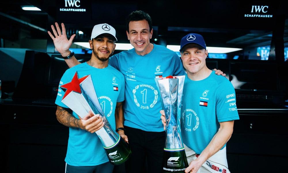 Lewis Hamilton Toto Wolff Valtteri Bottas - GP Brazylii 2018