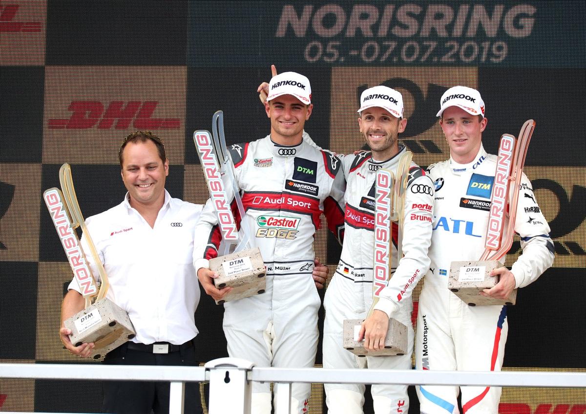 Podium sobotniego wyścigu DTM - Norisring 2019 | Fot. Audi