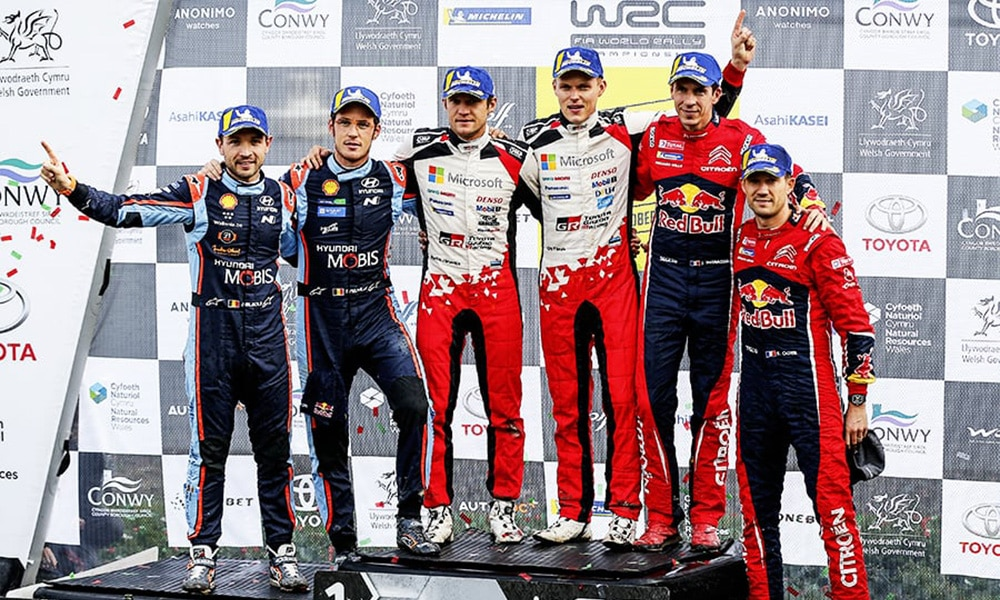 Ott Tänak Toyota WRC Rajd WIelkiej Brytanii 2019 podium