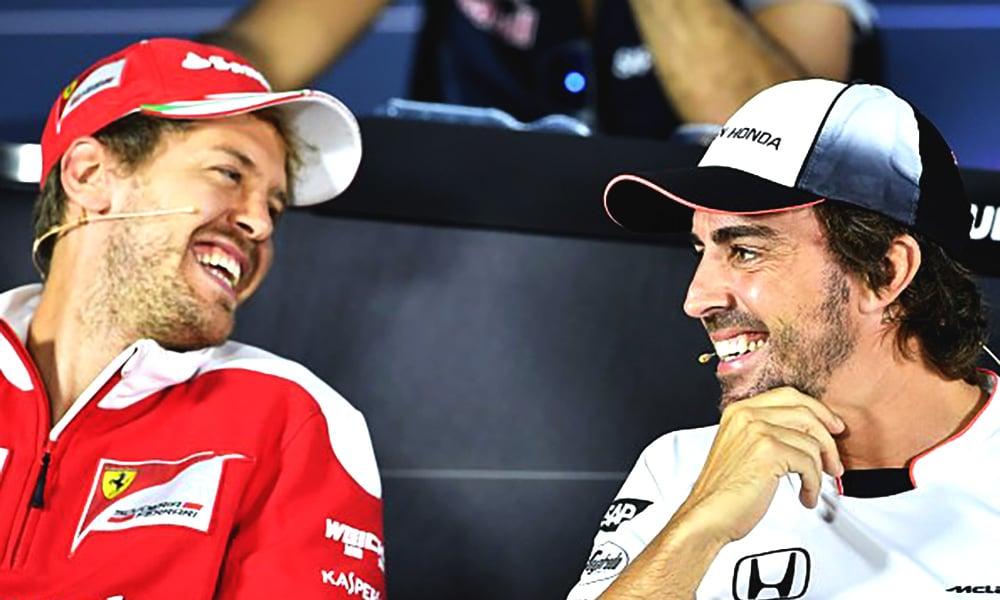 Sebastian Vettel i Fernando Alonso 2015 konferencja F1