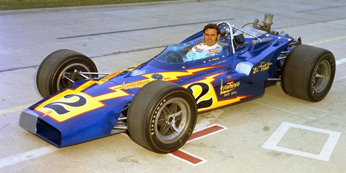 Al Unser przed wyścigiem Indianapolis 500, 1970 r.