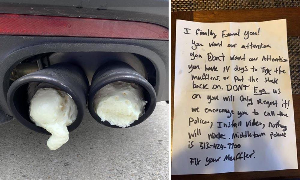 sąsiadowi przeszkadzał wydech mustanga