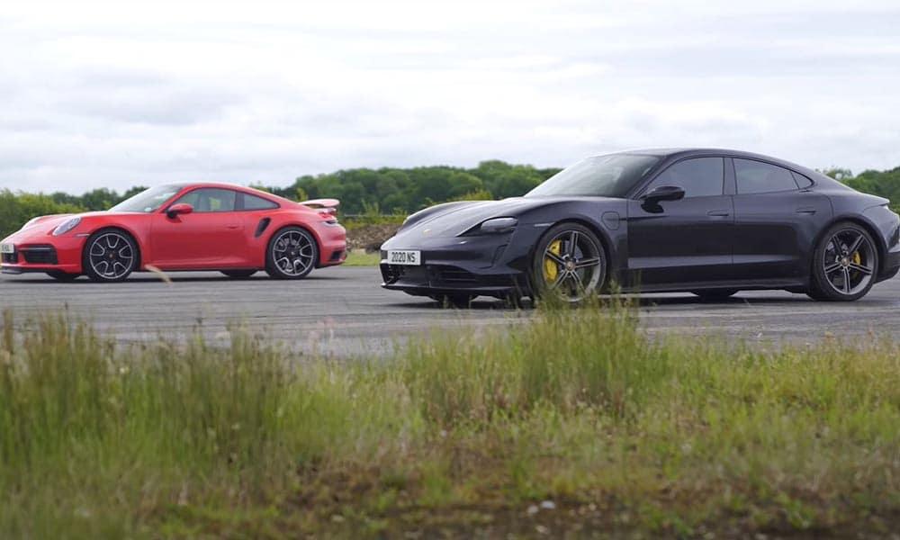 porsche 911 turbo s taycan turbo s drag race