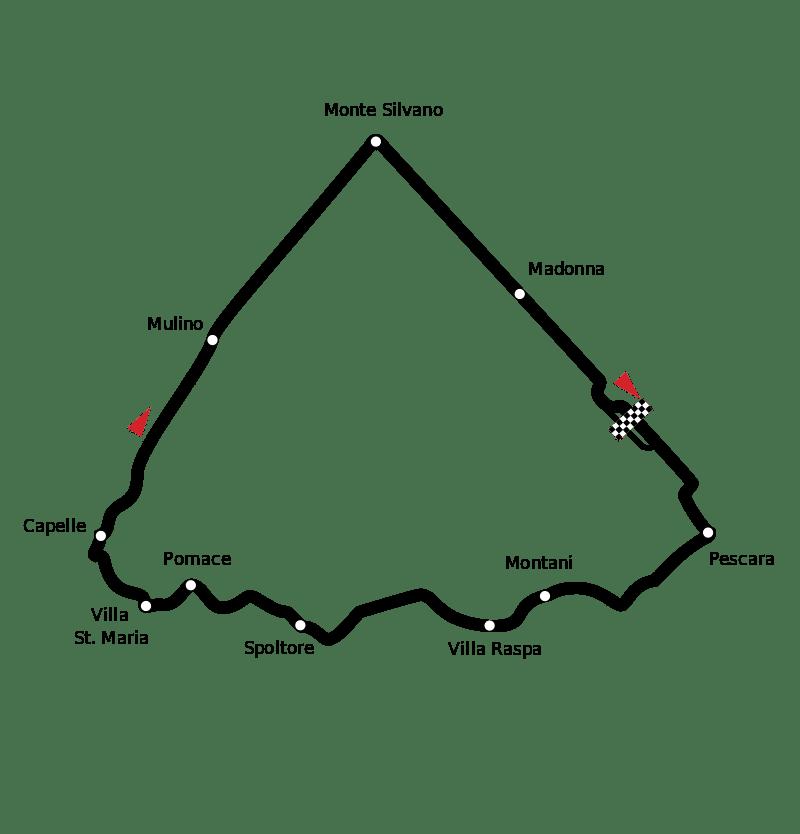 Mapa toru, na któym odbył się wyścig Pescara 1957