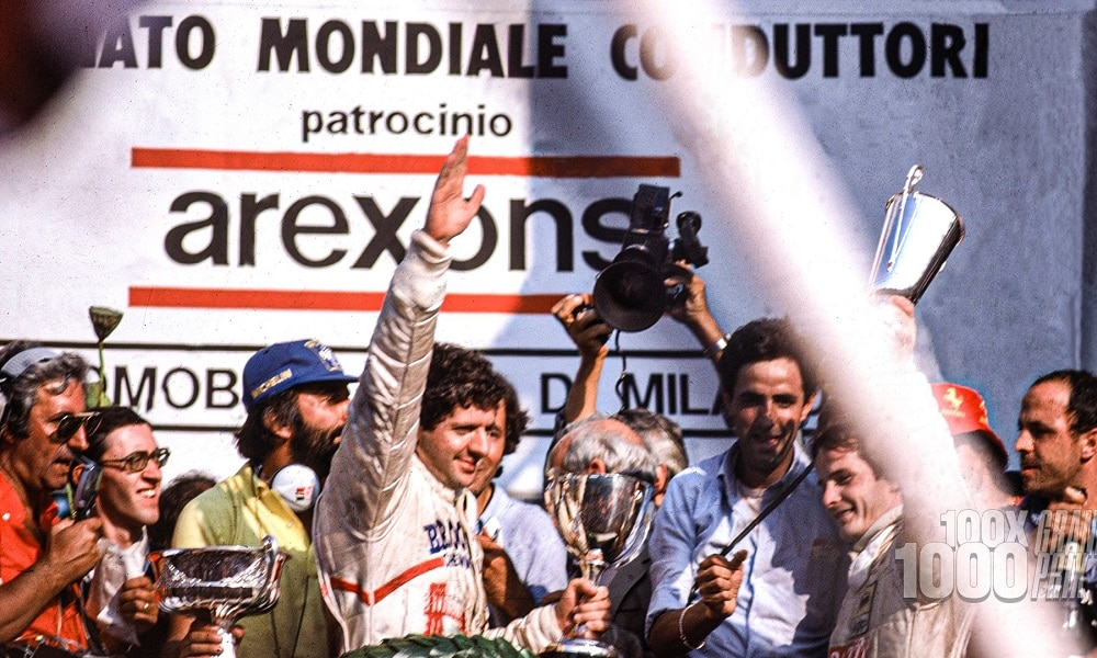 Jody Scheckter celebruje tytuł Monza 1979