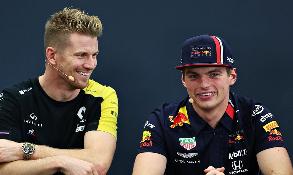Hulkenberg i Verstappen 2019 F1 podczas konferencji