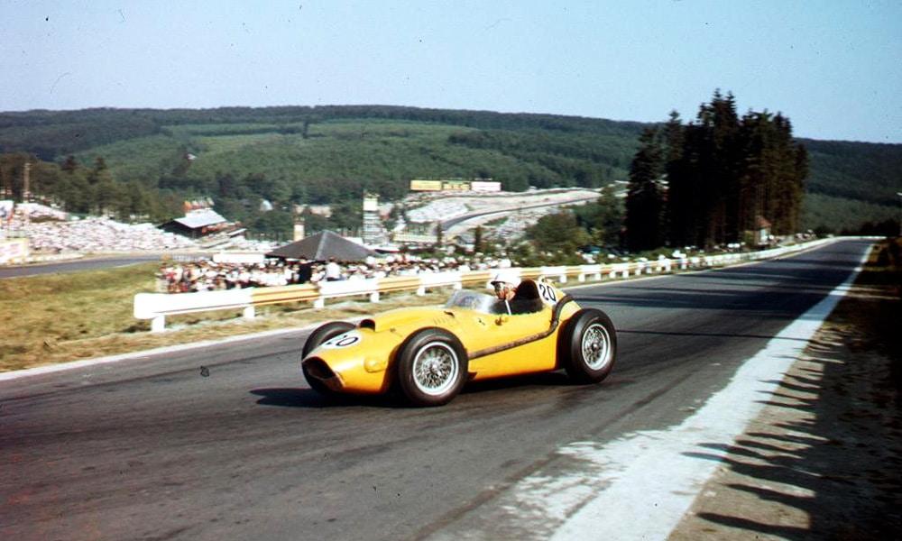 Olivier Gedebien GP Belgii 1958 malowania Scuderii Ferrari żółte