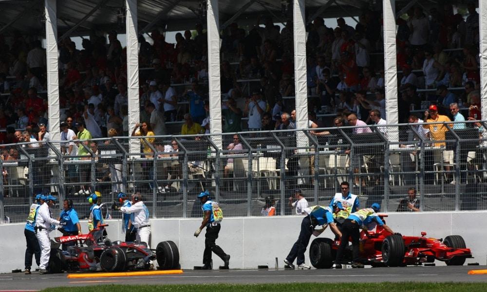 Wypadek Lewis Hamilton i Kimi Raikkonen Kanada 2008