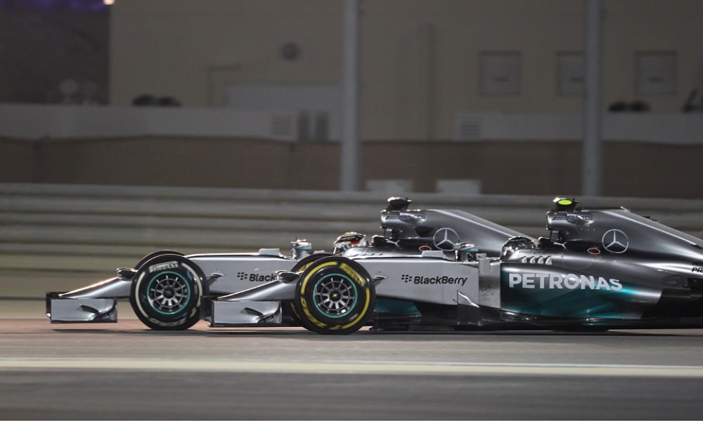 "Hamilton vs Rosberg Mercedes ""Duel in the desert"" - Bahrain 2014"