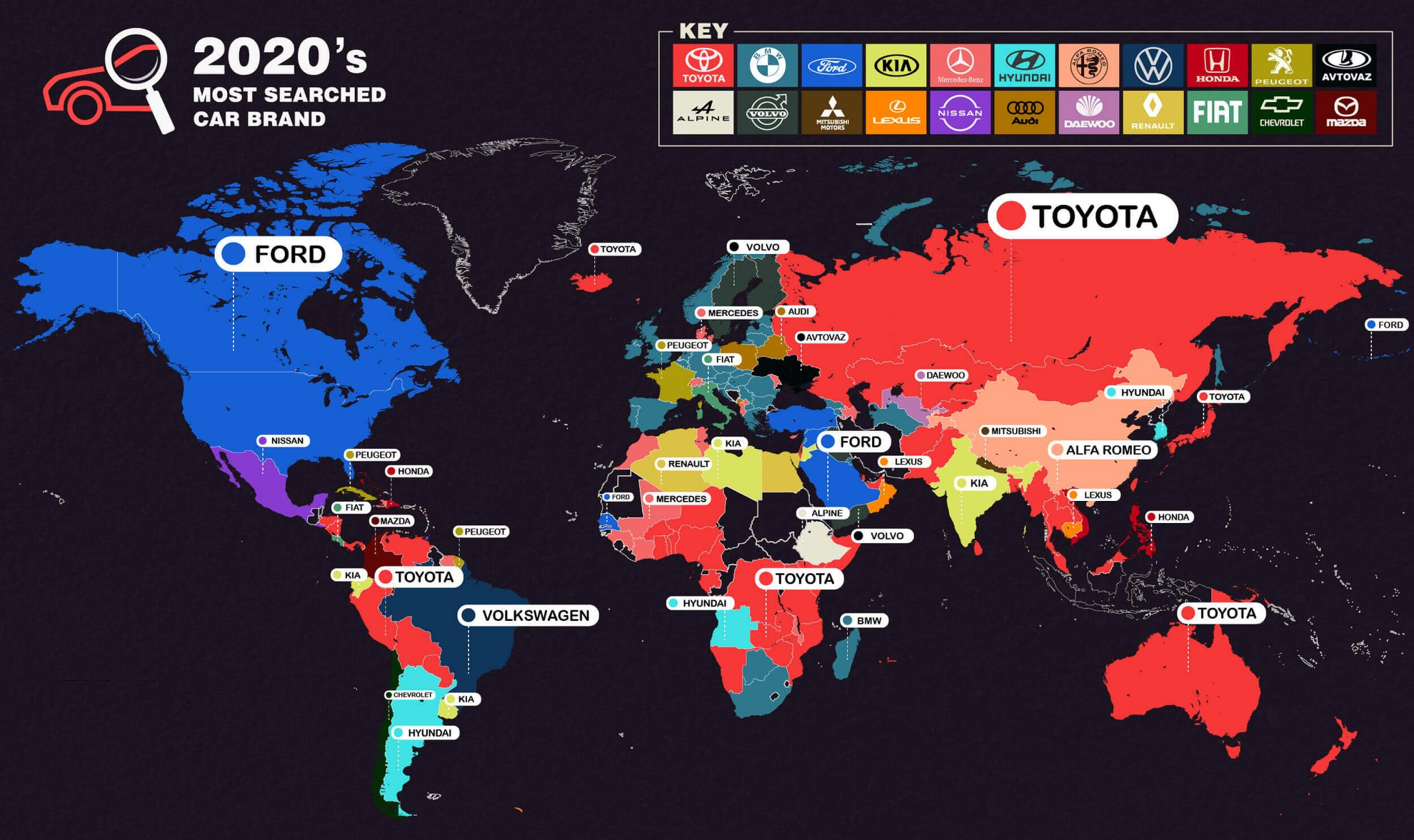 najczęściej poszukiwane samochody świat