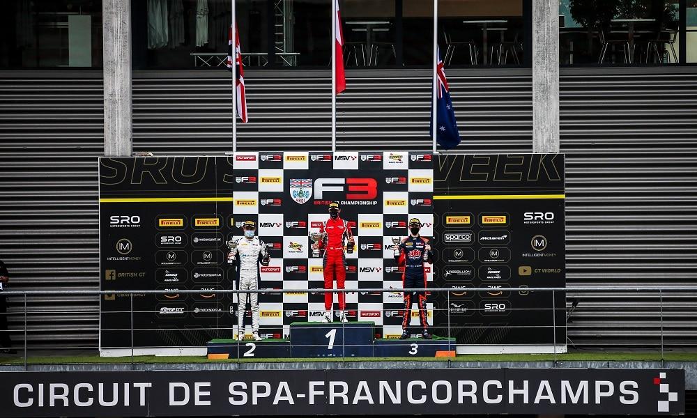 Brytyjska F3 2021 drugi wyścig podium