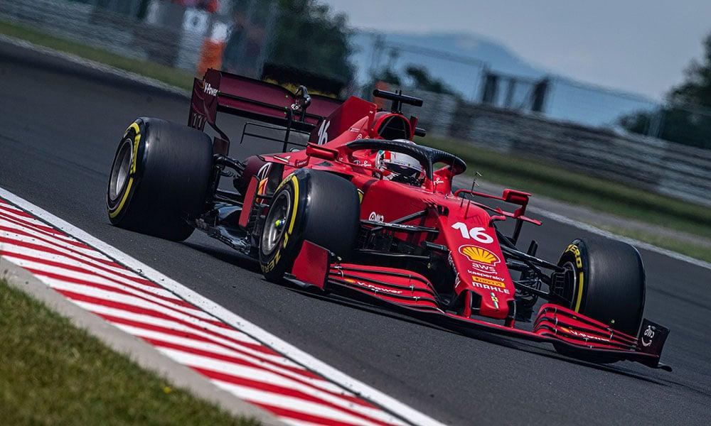 Leclerc i Ferrari 2021 GP Węgier 2021 f1