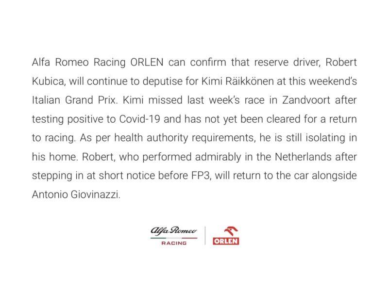 Oświadczenie Alfa Romeo Racing Orlen